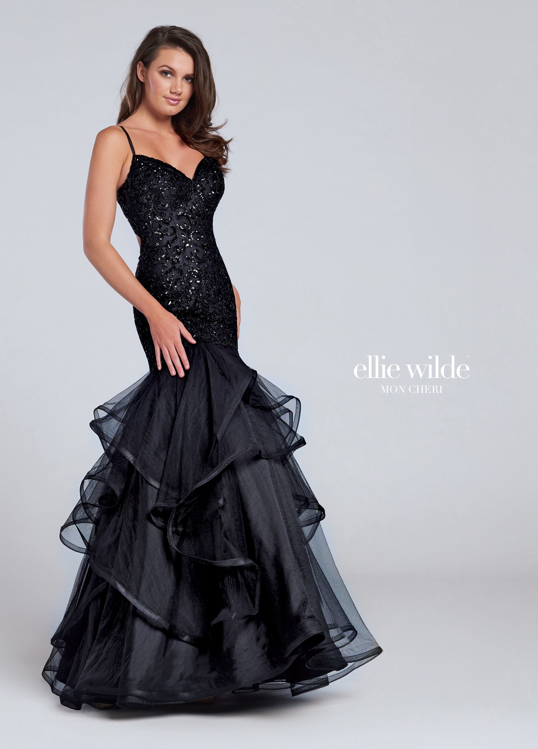Ellie Wilde EW117101 - Sleeveless tulle trumpet gown with sweetheart  neckline prom formal pageant black dress  ipaprom 543e4247b970