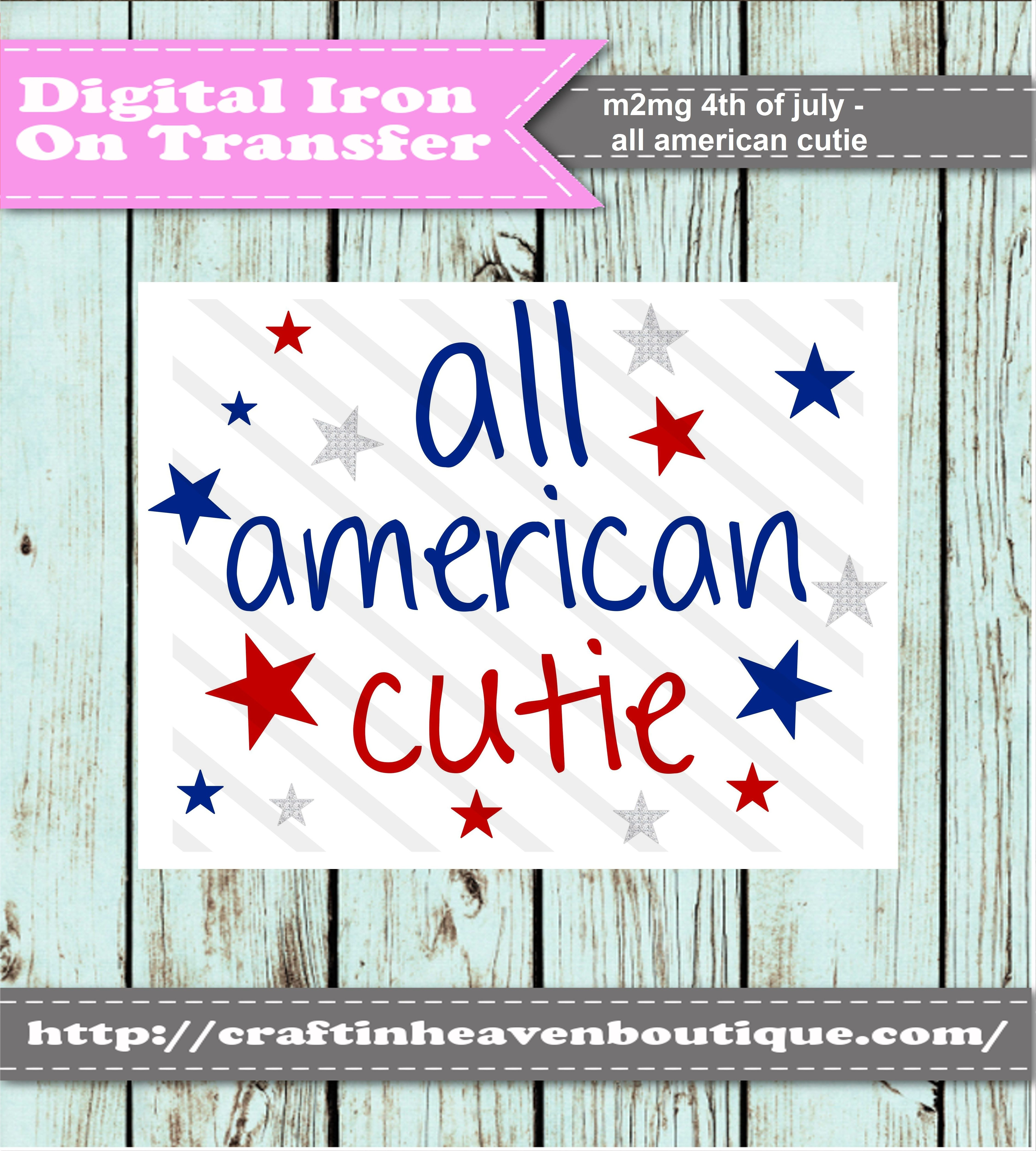 Diy printable iron on transfer all american cutie 350