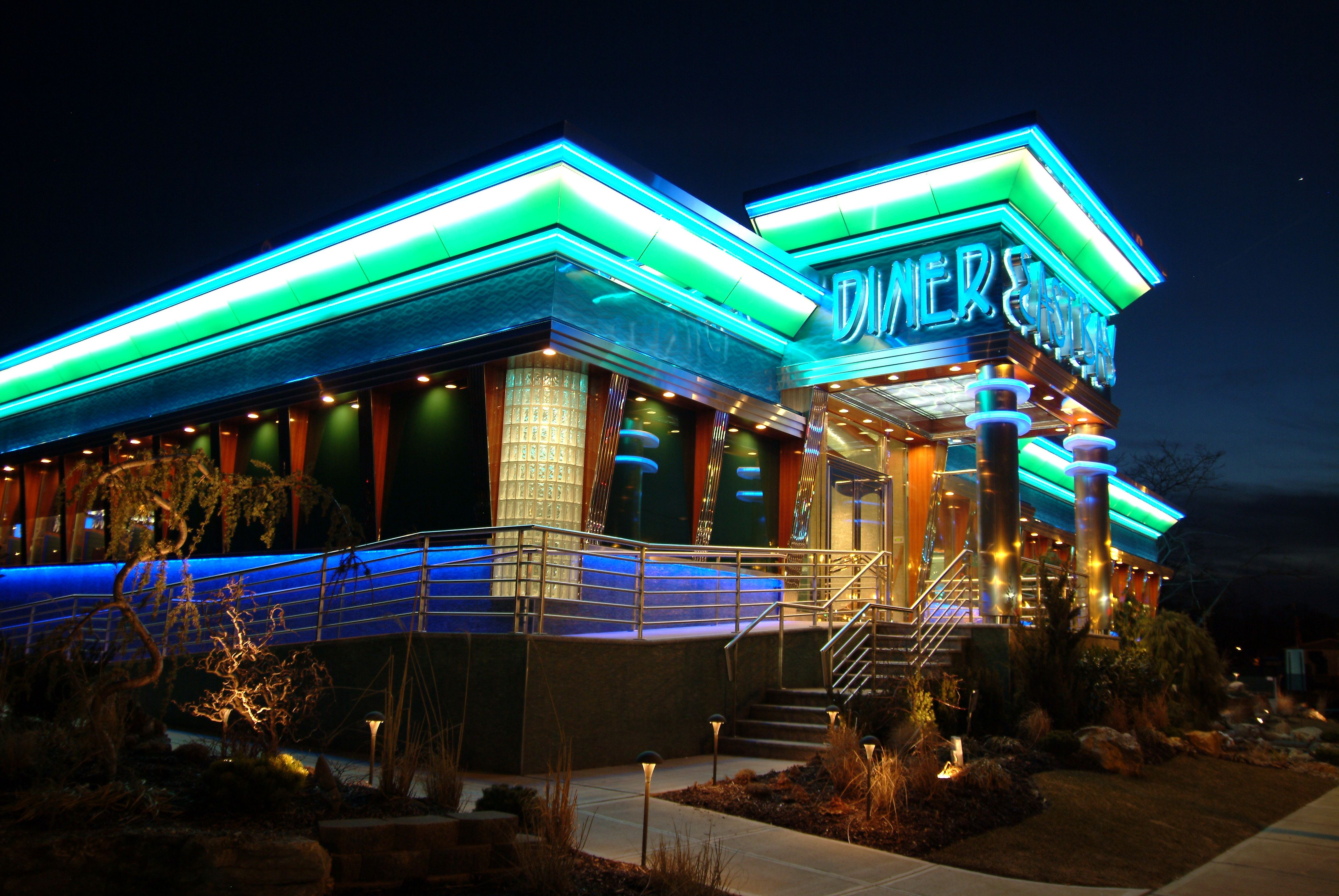 The East Bay Diner In Wantagh Ny Is A Green Diner With A Retro Underwater Feel The Exterior Is Just The Introducti With Images Commercial Design House Styles Exterior