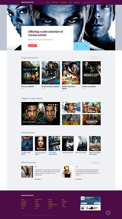 online movies website template themes business responsive