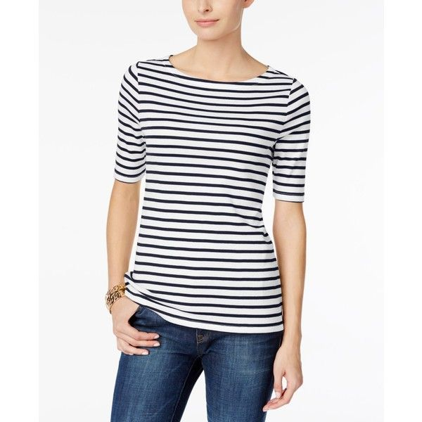 Charter Club Petite Cotton Striped Boat-Neck Top, (990 PHP) ❤ liked on Polyvore featuring tops, t-shirts, blue combo, cotton t shirts, boat neck t shirt, striped boatneck tee, cotton tees and petite t shirts