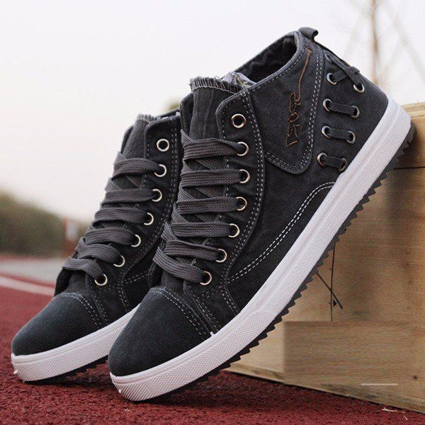 Men Denim Dark Gray British Style Lace Up High Top Casual Shoes