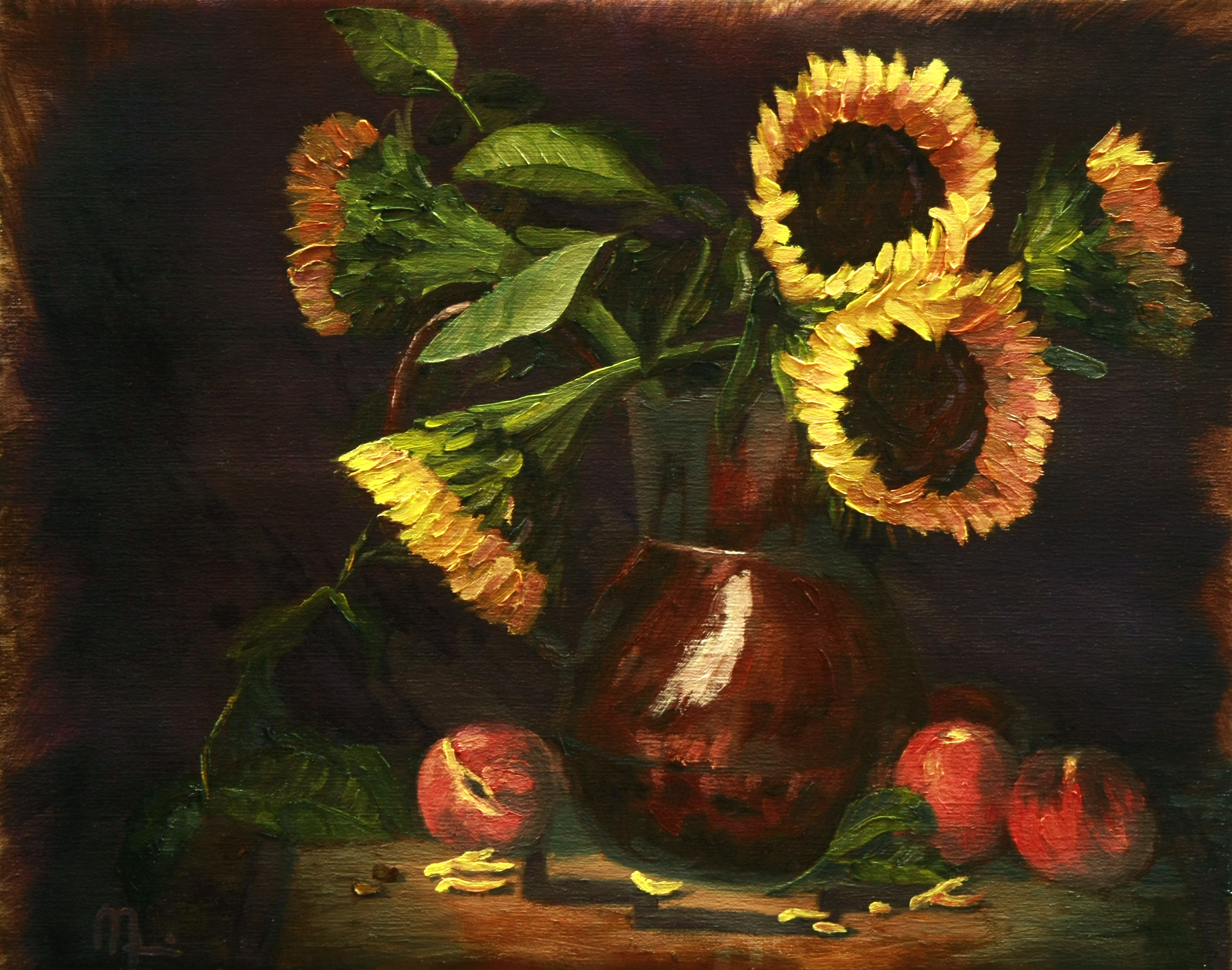 """20 x 16 Oil on Canvas """"Copper and Sun Flowers"""" - Still Life - JL Morris"""