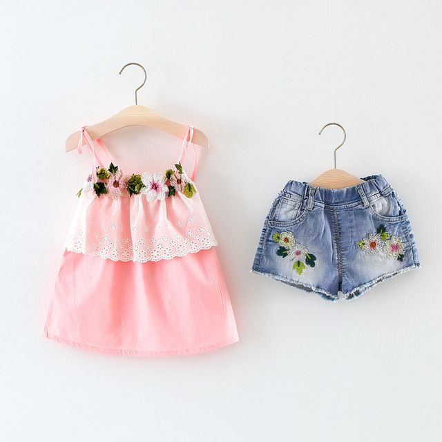 Buy now Summer Baby Girls Sweet Flower Straped Sling T-shirts+Embroidery Washed Denim Jeans Shorts Pants Infants 2pcs Clothing Set S5198 just only $14.96 with free shipping worldwide  #babygirlsclothing Plese click on picture to see our special price for you