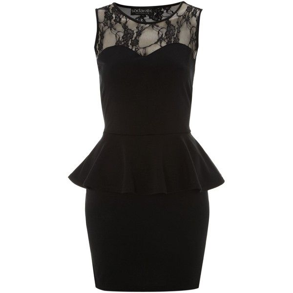 Black lace panel peplum dress