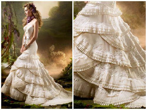 spanish inspired wedding dresses | Lazaro Organza Flamenco Gown ...