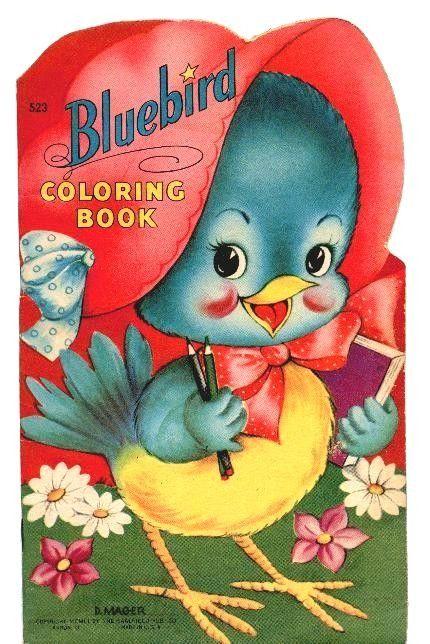 Bluebird Vintage Coloring Book