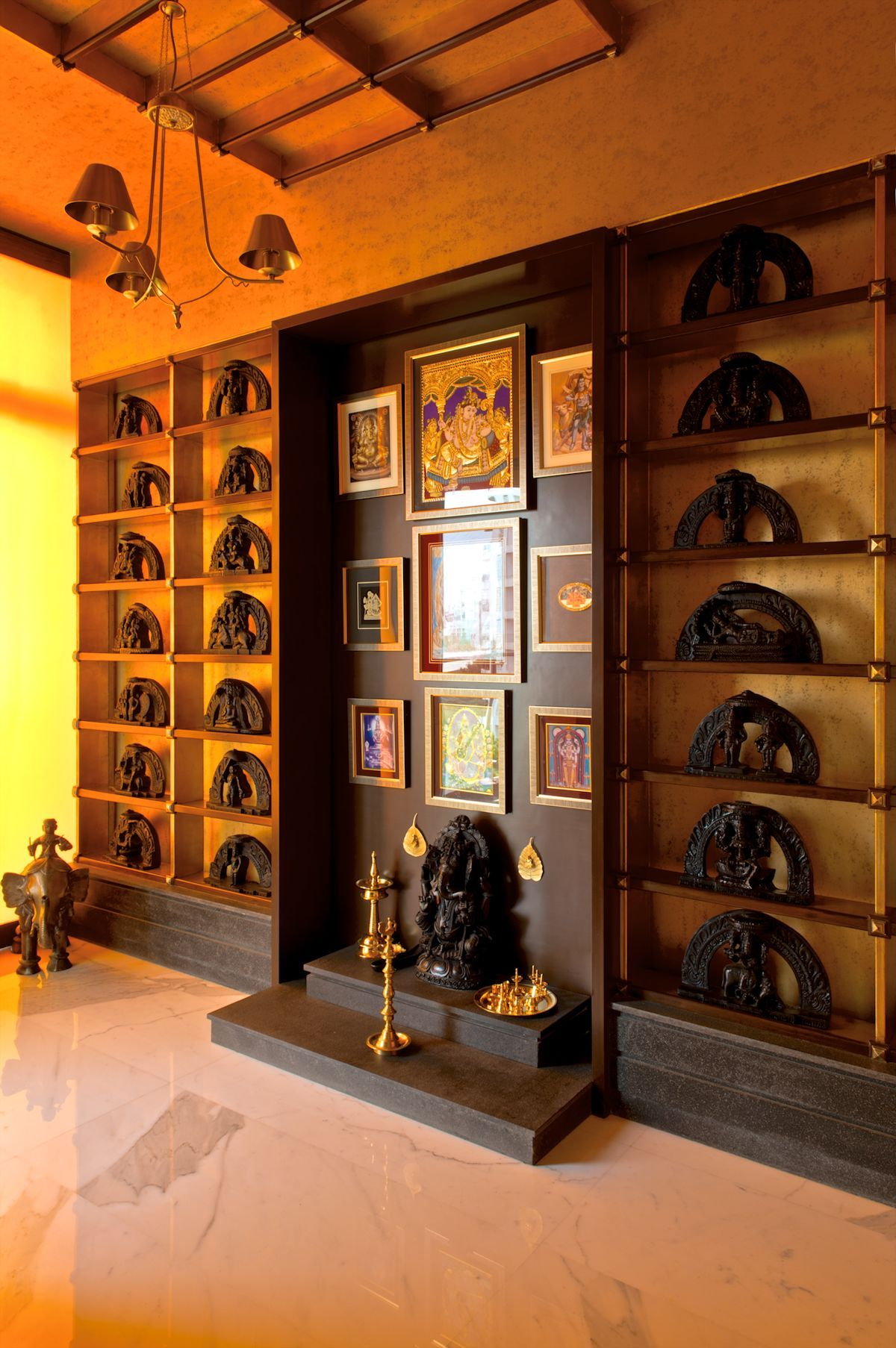 9 Traditional Pooja Room Door Designs In 2020: Sculptural Staircase Defines A Modern Two-Storey Apartment