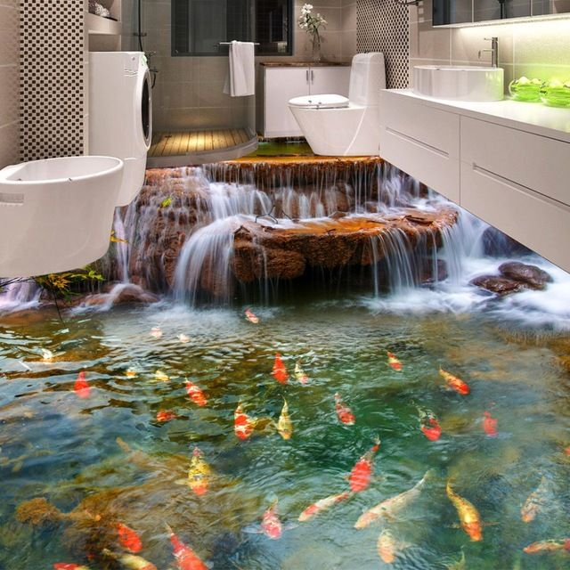 Custom 3d floor wallpaper hd waterfall carp bathroom floor for Custom mural painting
