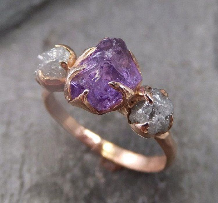 Uncut Amethyst Engagement Ring Purple Gemstones Rings Amethyst