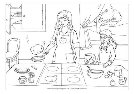 Making Pancakes Colouring Page Kleurplaten Pannenkoeken Thema