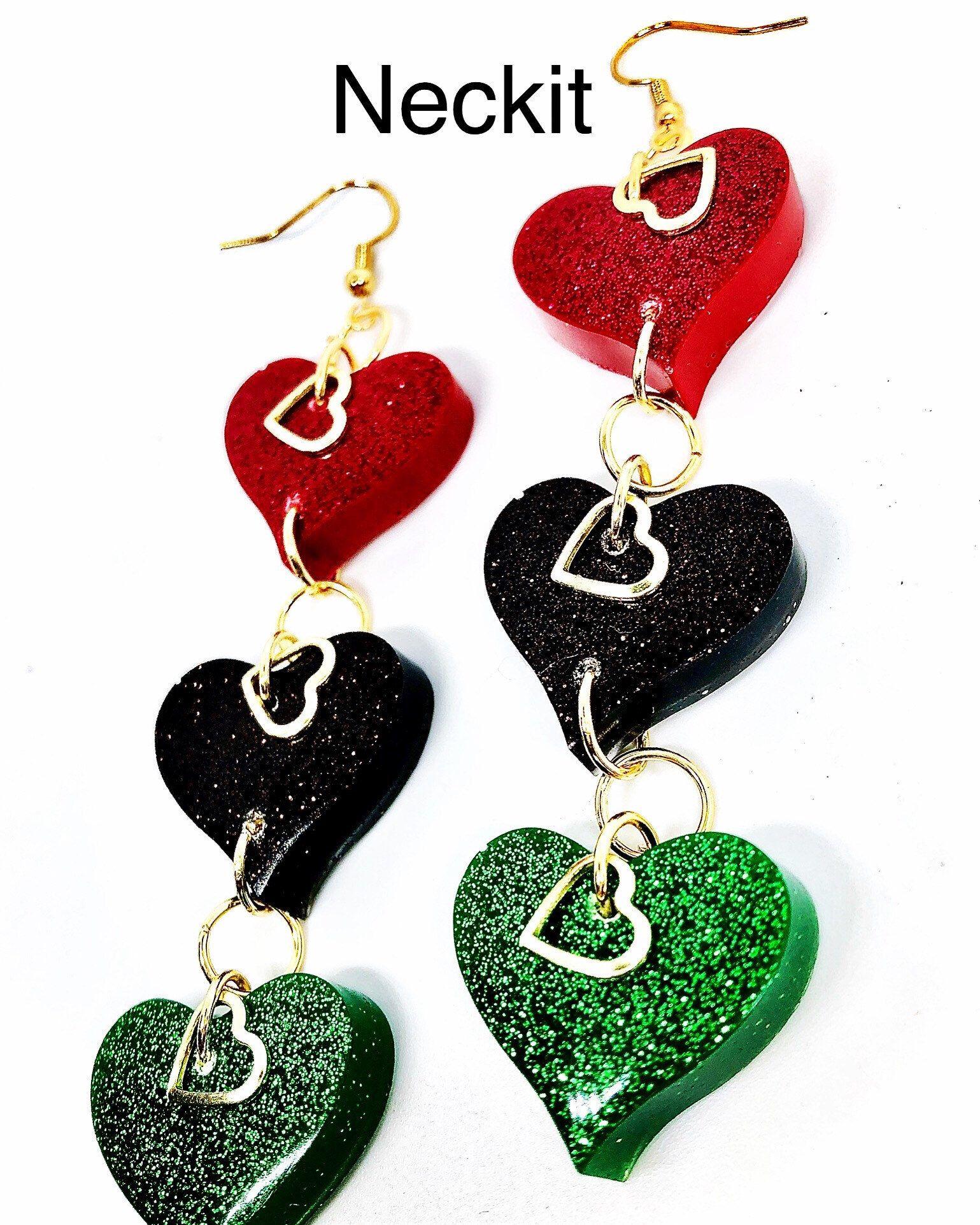 Afrocentric heart glitter resin earrings dangles in 2020