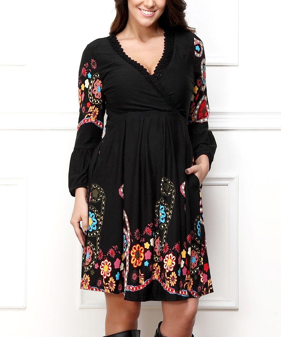 Black Garden Surplice Dress Plus By Reborn Collection Zulily Zulilyfinds Surplice Dress Goddess Fashion Dresses [ jpg ]