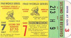 1960 World Series Ticket Stub From Game 7 Played Between
