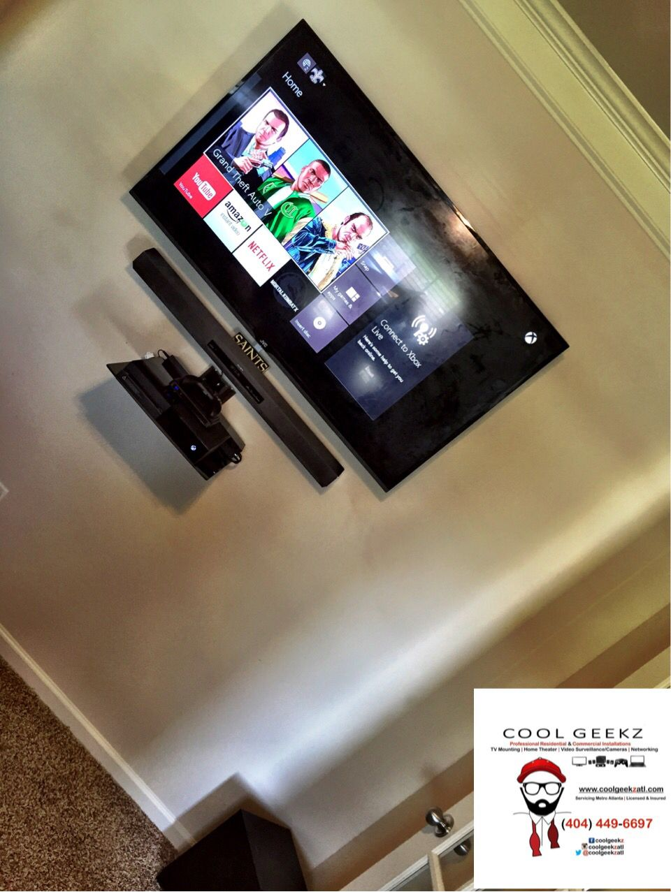 Tv And Soundbar Mounted With Floating Shelf For Xbox One And Directv Coolgeekzatl Tvmounting Hometheater Videosurvei Mounted Tv Sound Bar Mount Sound Bar