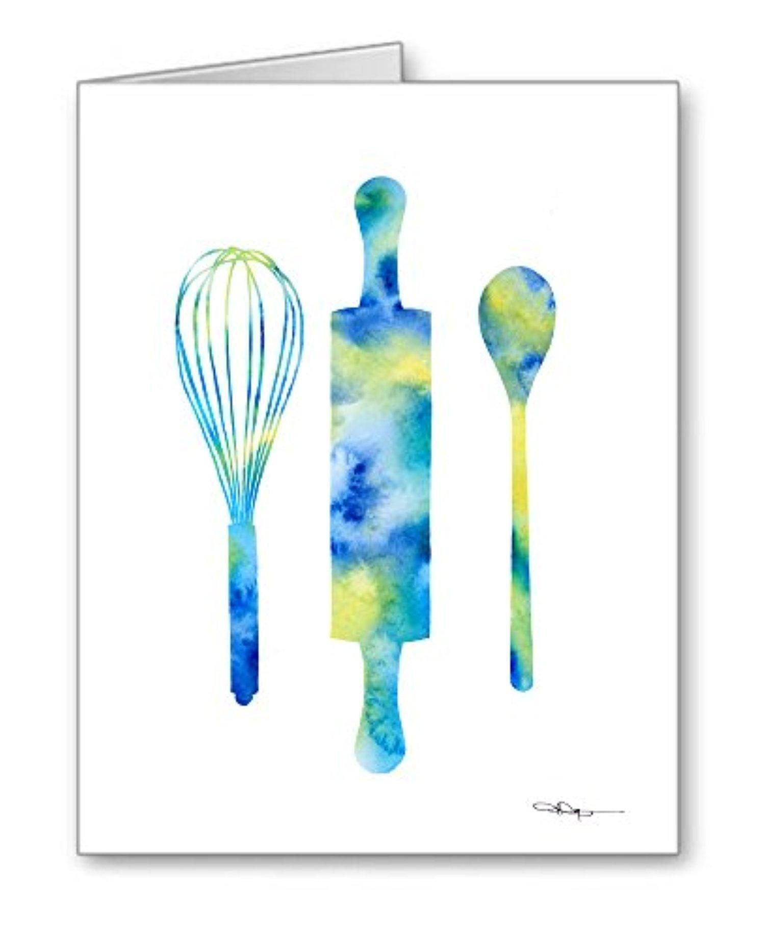 Kitchen Art Set Of 10 Abstract Watercolor Cooking Note Cards