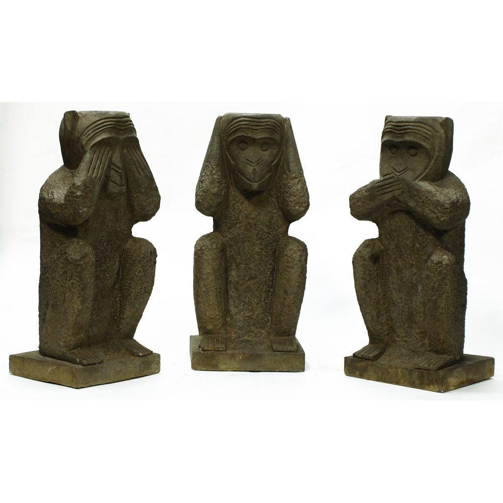 Stone Three Wise Monkeys.  Symbolizing wisdom and a pure life, this famous monkey trio originates in Japan. The three monkeys are Mizaru, covering his eyes, who sees no evil; Kikazaru, covering his ears, who hears no evil; and Iwazaru, covering his mouth, who speaks no evil. Oriental decor.