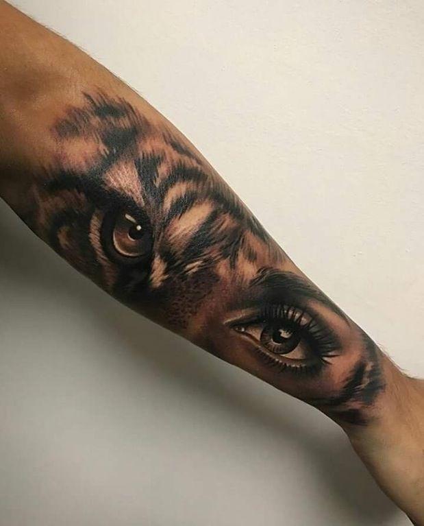 Animal Eyes Tattoo : animal, tattoo, Lady/tiger, Artis, Garcia, Certified, Customs, Denver,, Tattoos, Sleeve, Tattoos,, Animal, Tattoo