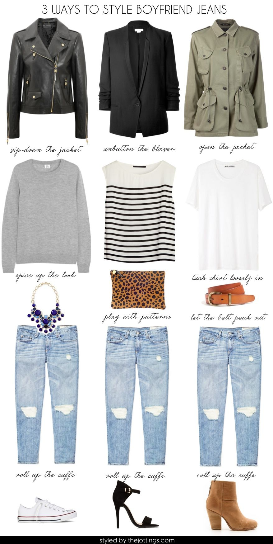 How to style boyfriend jeans. They forgot two more top options and shoe  options  feminine blouse with flats or peplum top with sandals. d9f726e62a36