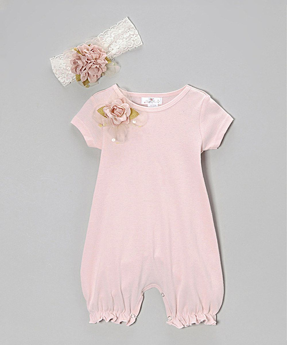 fc61addedea8 This Truffles Ruffles Blush Vintage Flower Romper   Lace Headband - Infant  by Truffles Ruffles is perfect!  zulilyfinds