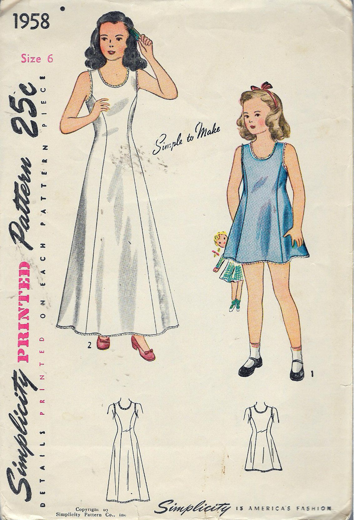 c7918377c79 Vintage 1940 s Simplicity 1958 Girls Long   Short Princess Line Slip Sewing  Pattern Size 6 Breast 24