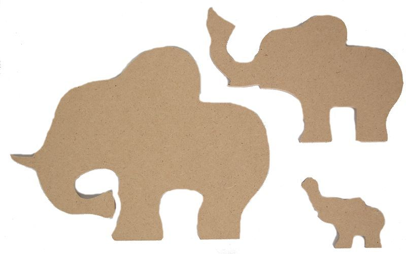 Wood MDF Elephant Animal Shapes Pack Of 3. Paint Your Own