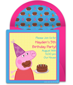 Browse Our Free Peppa Pig Invitations Like This Invite Featuring And A Chocolate Birthday Cake Personalize Send Easily From Your Phone Via Text
