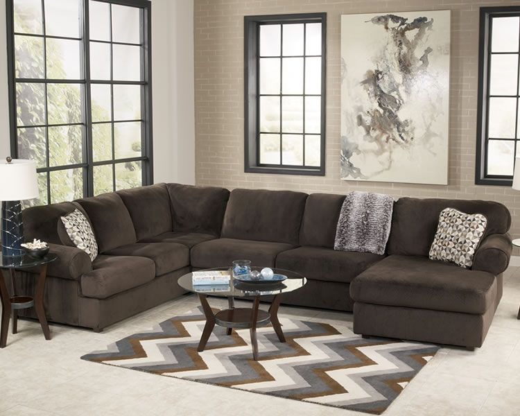 Ashley Furniture Sectional | Large Fabric Sectional In Chocolate Color