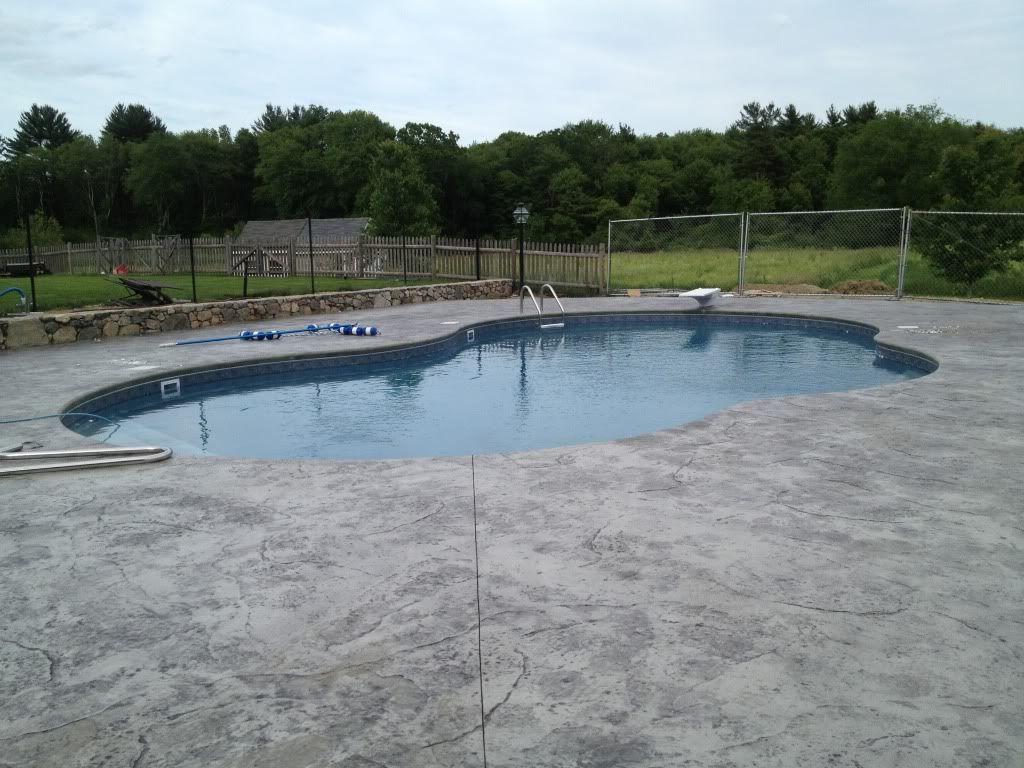 re: stamped concrete around pool | stamped concrete | pinterest