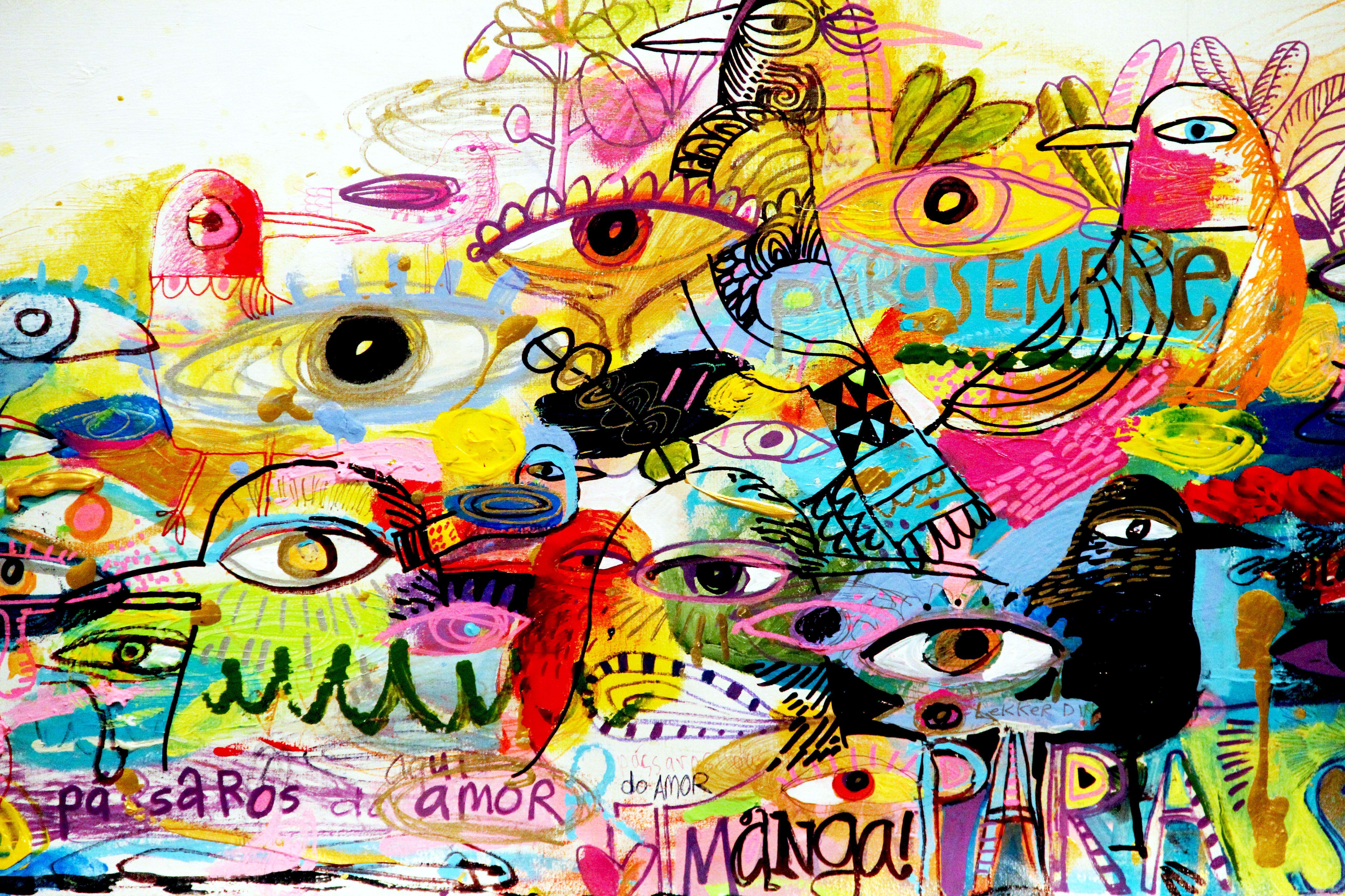 "Skip Hill:  Pássaros do Amor (para Sempre) 2015 acrylic, gesso, crayon, inks on linen. 58""w x 28""h."