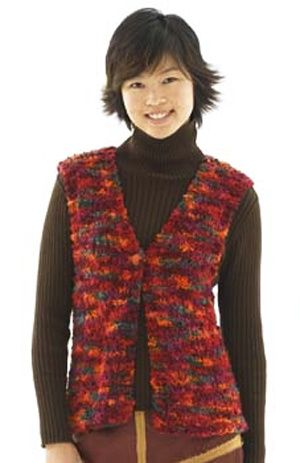 Knitting Patterns Free Ladies Waistcoat : Knitted Ultimate Vest Lion Brand  Lion  Boucle Pattern ...