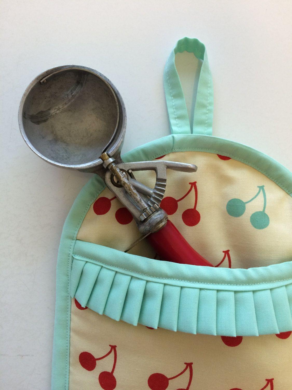 Retro Cherry Kitchen Decor Cute Kitschy Potholder Red Aqua Blue Mod Cherry Print Kitschy