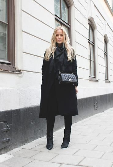 All-Black Outfits for Fall: Pointed toe boots, black coat, Chanel Le Boy bag, and black scarf.