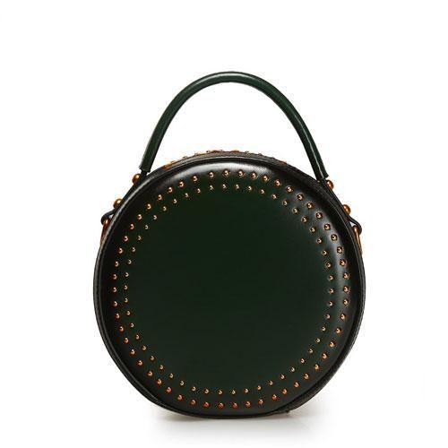 eecf67e6d Genuine Leather Handbag Vintage Rivet Circle Round Shoulder Bag Crossbody  Bag Purse Clutch For Women