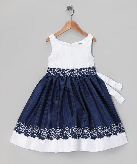 Navy & White Flower Dress - Infant, Toddler & Girls