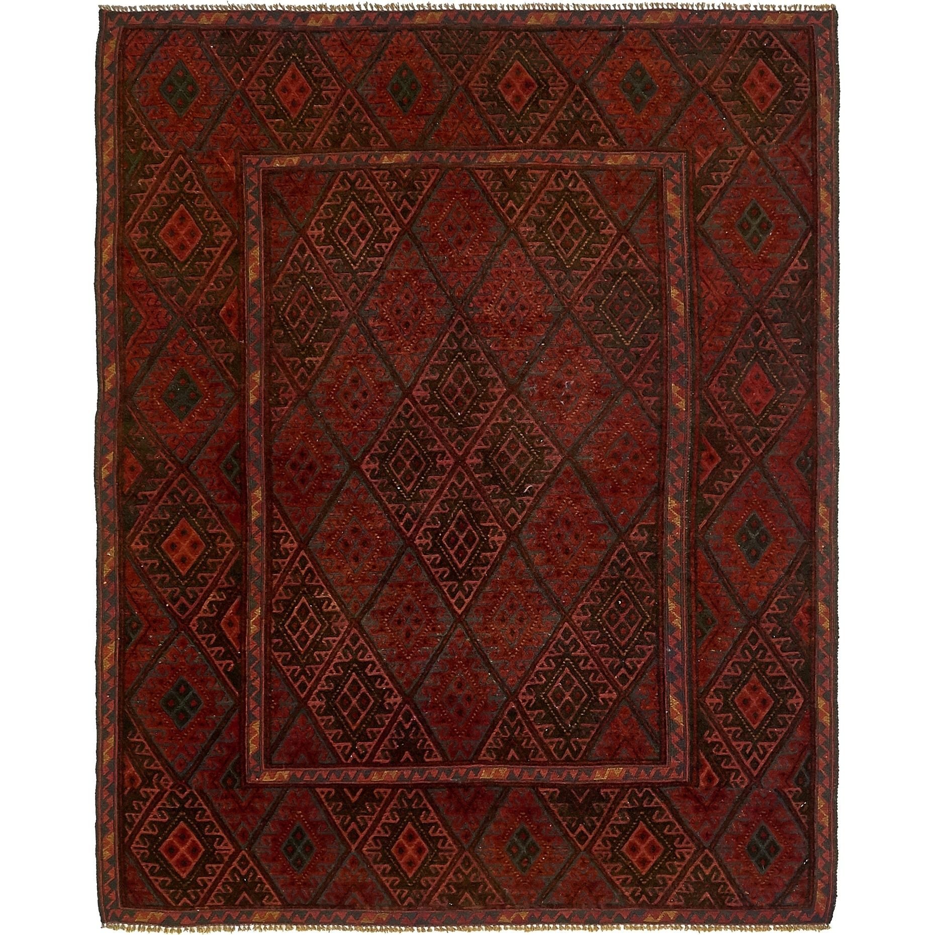 Refurbished Hand Knotted Sumak Wool Area Rug 5 X 6 2 Red 5