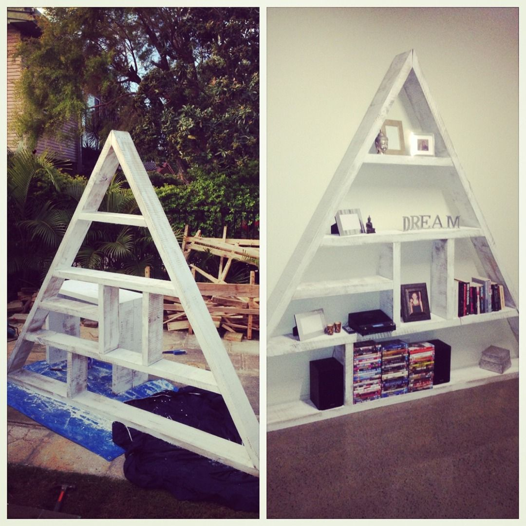 handmade triangle bookcase made from recycled timber