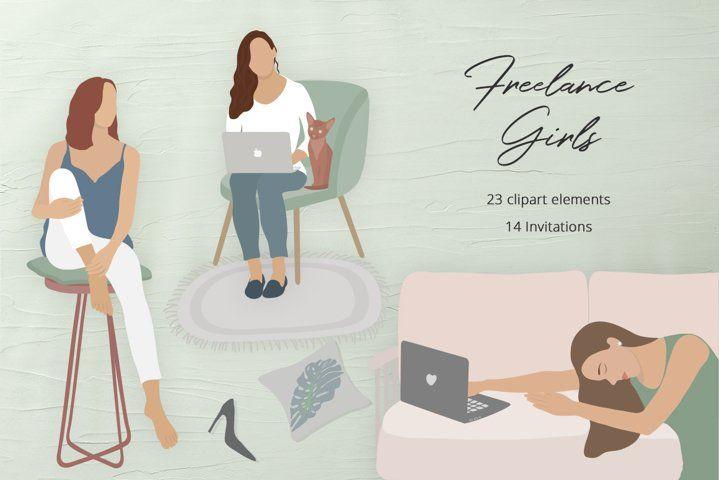 Freelance Girls Illustration Set #ladypreneur #ladyboss #homedecorscandinavian #bohoart #blogger #influencer #instagram #womaninbusiness #digitalnomad #bossbabe