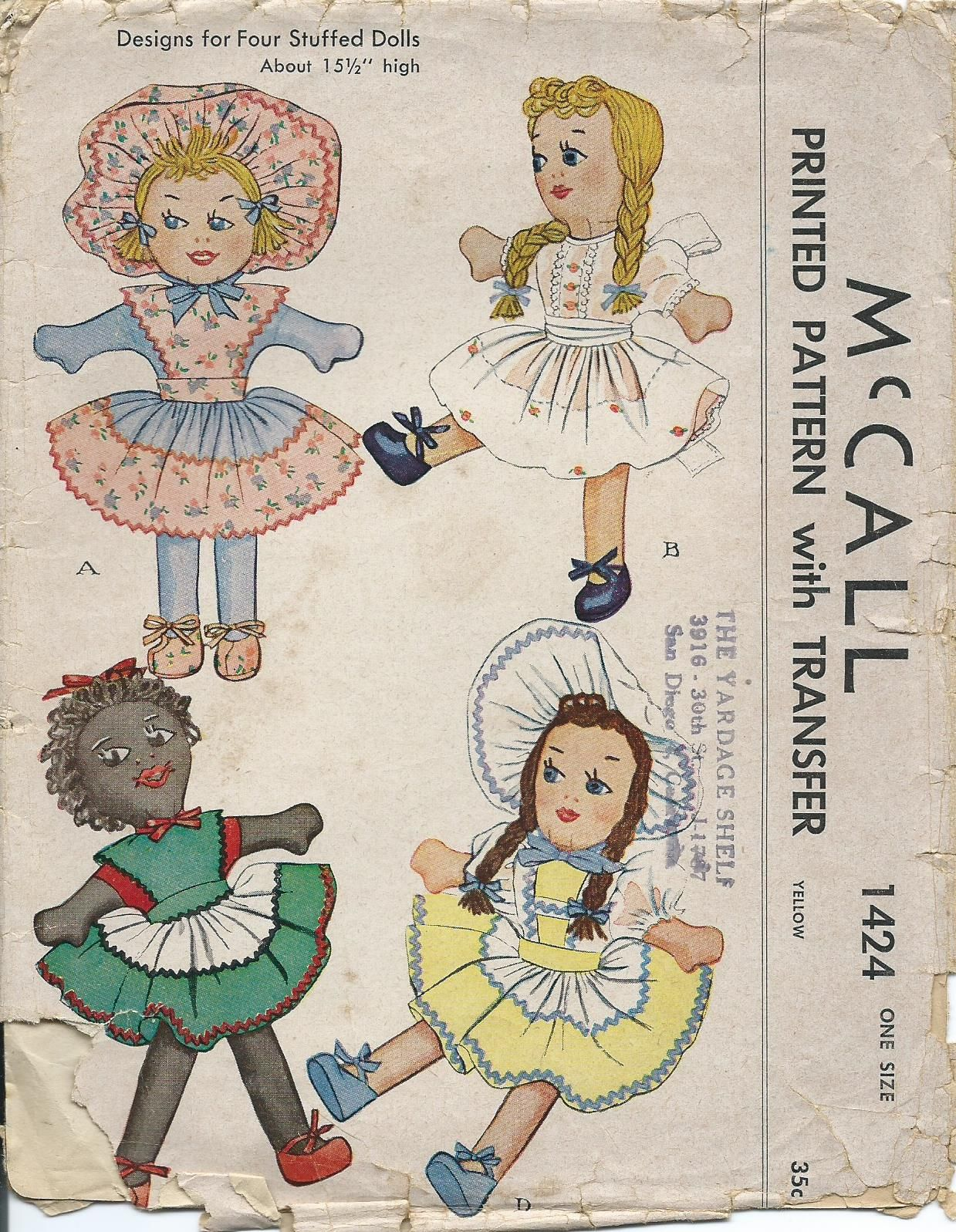 McCall 1424 | VintageToy Patterns | Pinterest