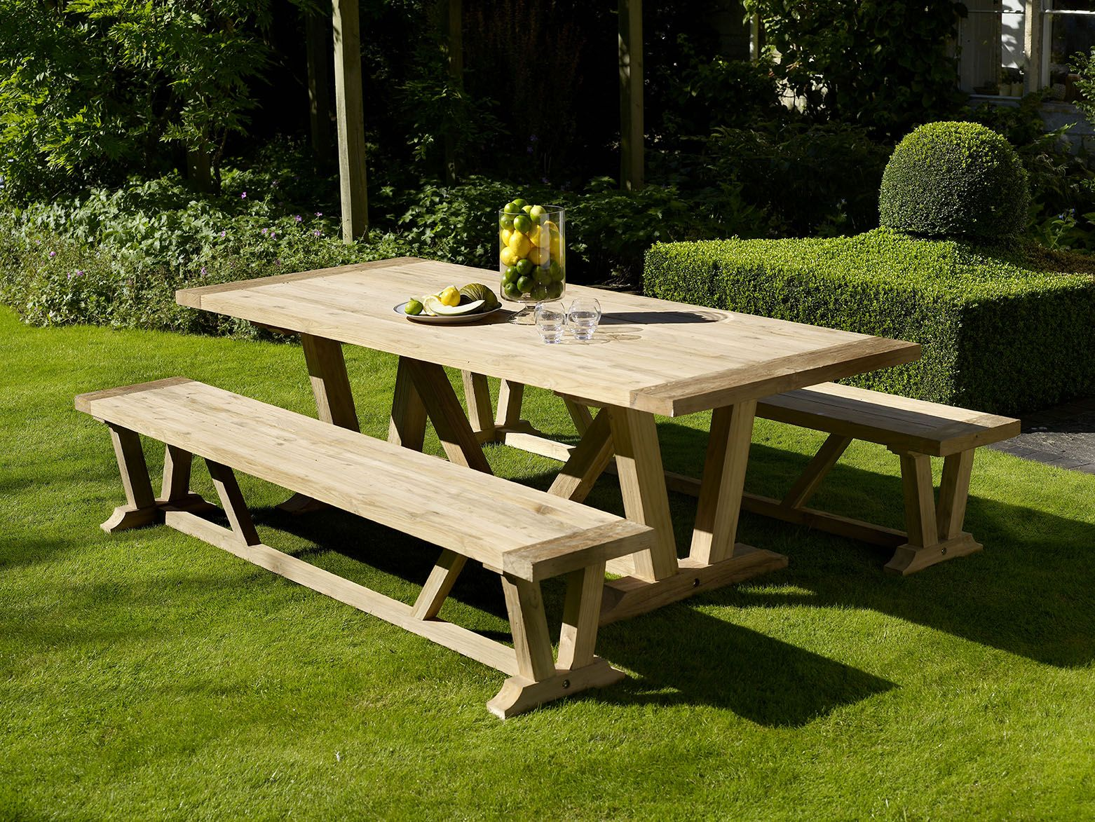 Kuta 240cm Rectangle Table Set with 2 Kuta Benches http://www ...