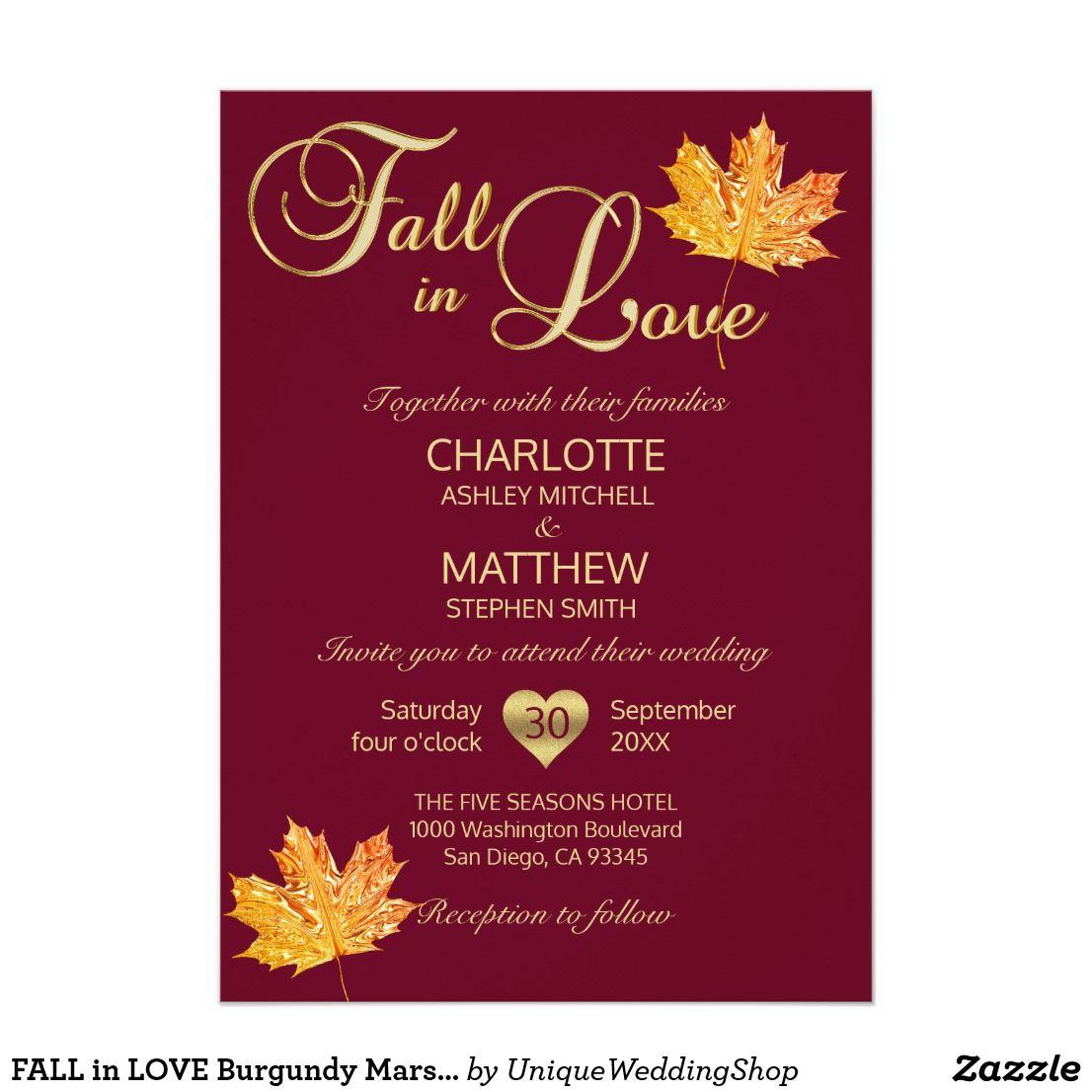 FALL in LOVE Burgundy Marsala Maroon Maple Wedding Invitation ...