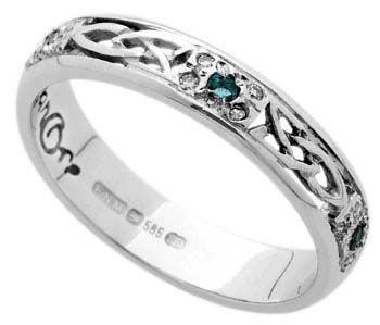 Ladies Celtic Wedding Rings set with Diamonds and Emeralds My