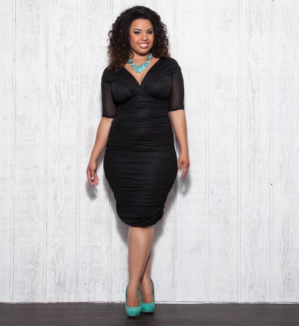 5e12e76cd9ff3 Love the pops of color with the LBD Sexy Plus Size Fashion - Ruched Dress  by KIYONNA