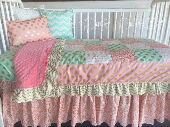 Pink Coral Mint Gold Toddler Bedding Quilt Toddler Bed Quilt Coral Mint Gold Cute Bedding
