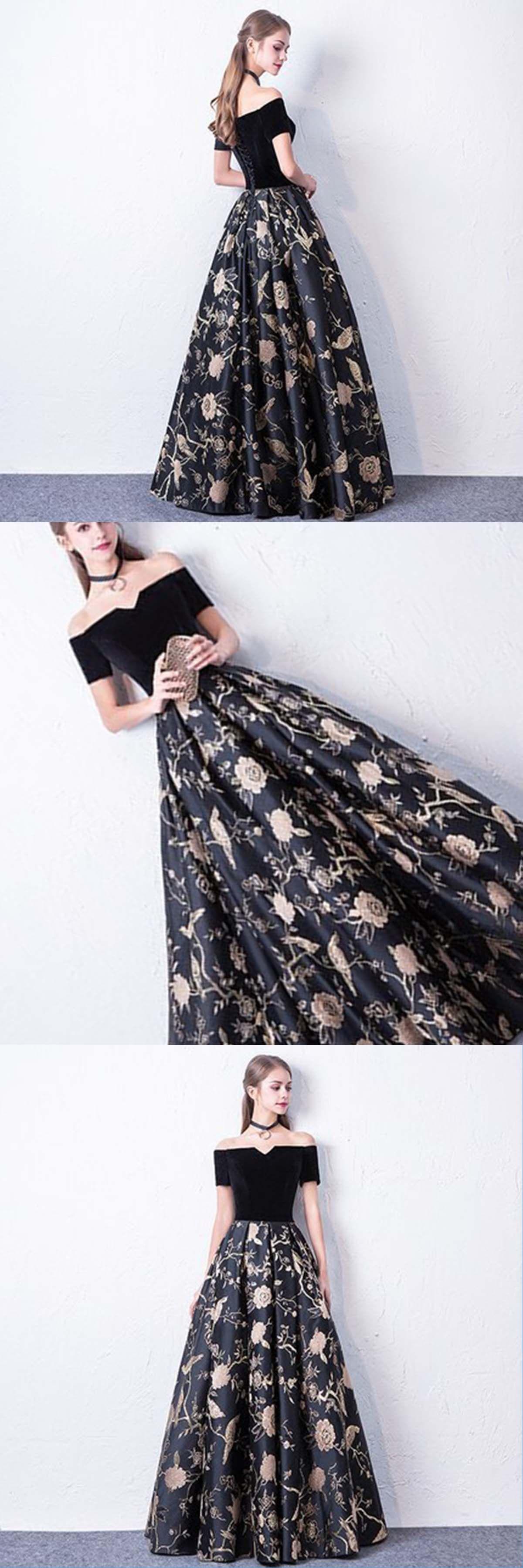 Black floral print satin long strapless evening dress with short