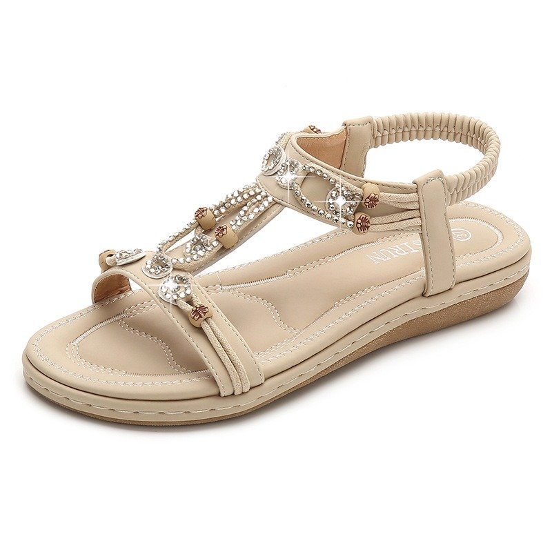 e807735aaa3f LOSTISY Opened Toe Beaded Breathable Summer Flat Slip On Sandals in ...