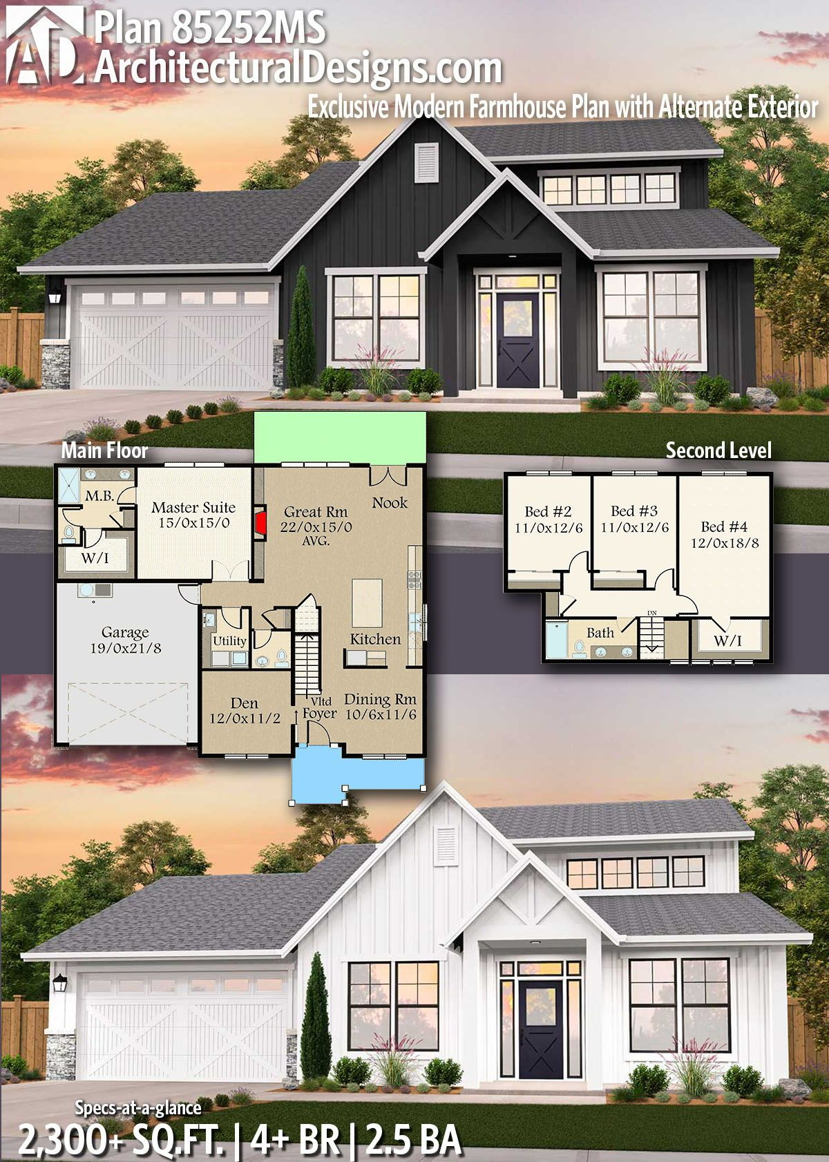 Plan 85252ms Exclusive New American House Plan With Alternate Exterior House Plans Farmhouse Modern Farmhouse Plans Country House Plans