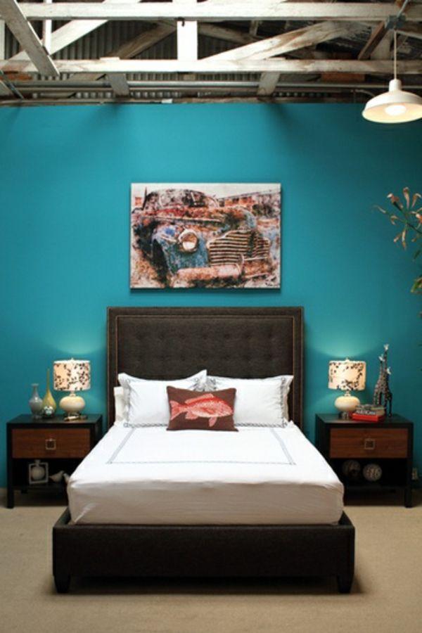 Wandfarbe Holz Balken Türkis Wandgestaltung Bett Schwarz