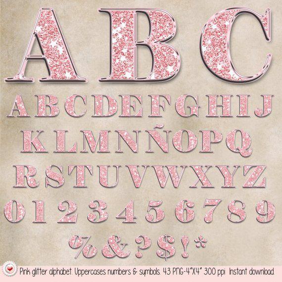 43 Clipart Upper Cases Numbers Symbols Pink Glitter Alphabet