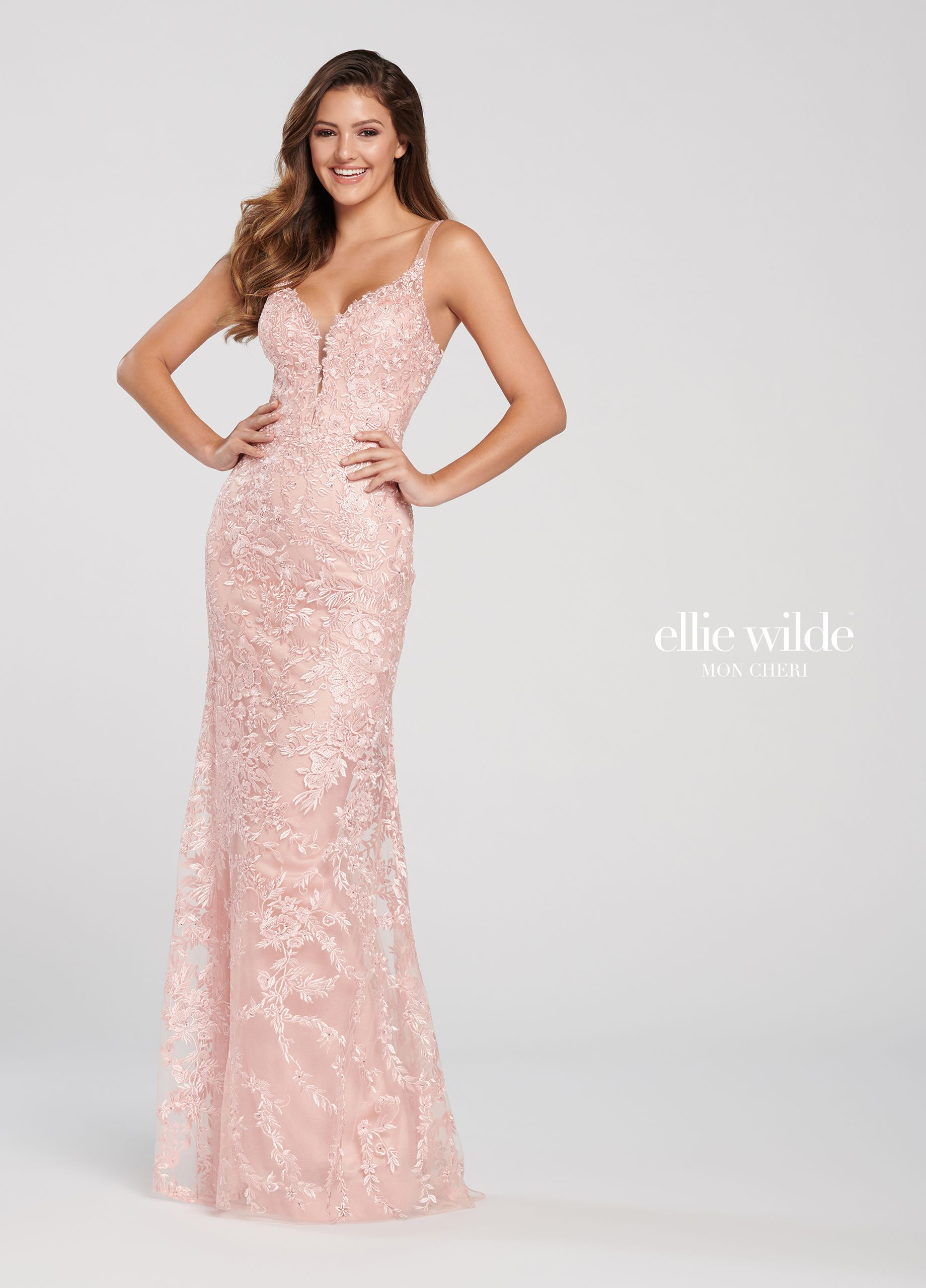 320eb0ccc46 Ellie Wilde EW119164 - Sleeveless lace fit and flare gown with a plunging  sheer inset v-neck